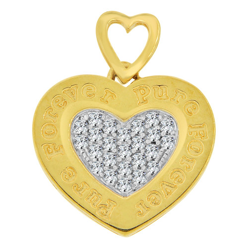 14k Yellow Gold White Rhodium, Forever Pure Heart Pendant Charm Brilliant Created CZ Crystals (P063-010)