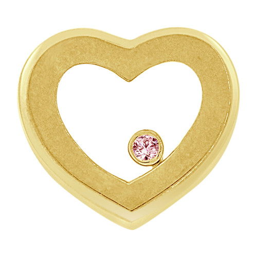 14k Yellow Gold, Small Size Polished Slider Heart Pendant Pink Created CZ Crystal  (P063-011)
