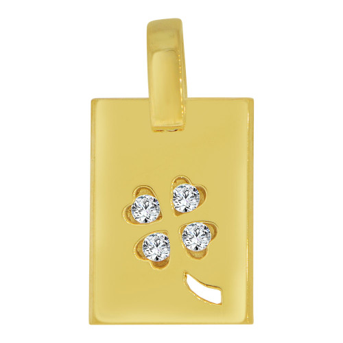 14k Yellow Gold, Rectangular Medallion Four Leaf Clover Pendant Charm Created CZ Crystals (P063-013)