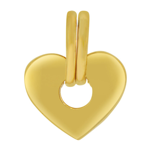 14k Yellow Gold, Polished Abstract Heart Design Pendant Charm  (P063-014)