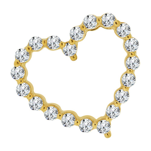 14k Yellow Gold, Classic Skewed Open Heart Slider Pendant Charm Created CZ Crystals (P063-016)