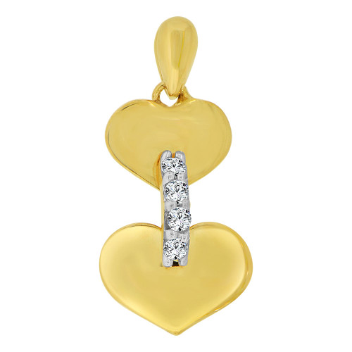14k Yellow Gold White Rhodium, Small Size Double Heart Pendant Charm Created CZ Crystals (P063-020)