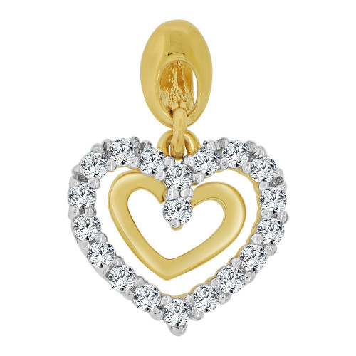 14k Yellow Gold White Rhodium,  Small Size Double Open Heart Pendant Charm Created CZ Crystals  (P063-024)