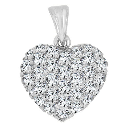 14k Gold White Rhodium, Classic Domed Heart Pendant Charm Brilliant Created CZ Crystals  (P063-054)