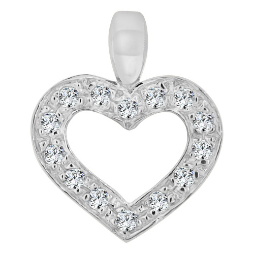 14k Gold White Rhodium, Open Heart Pendant Charm Created CZ Crystals  (P063-055)