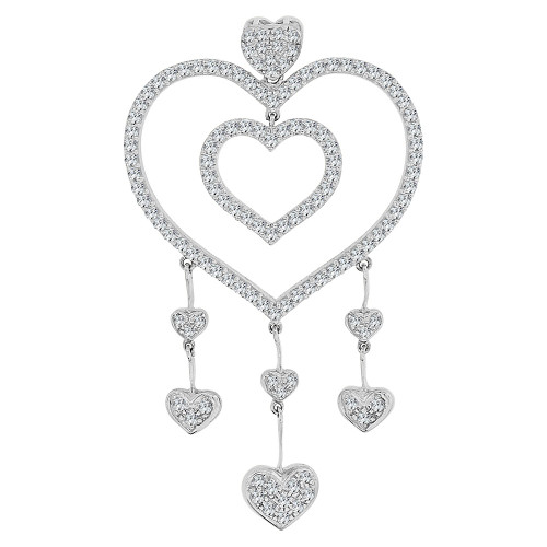 14k Gold White Rhodium, Fancy Multi Heart Drop Pendant Dangling Charm Created CZ Crystals  (P063-056)
