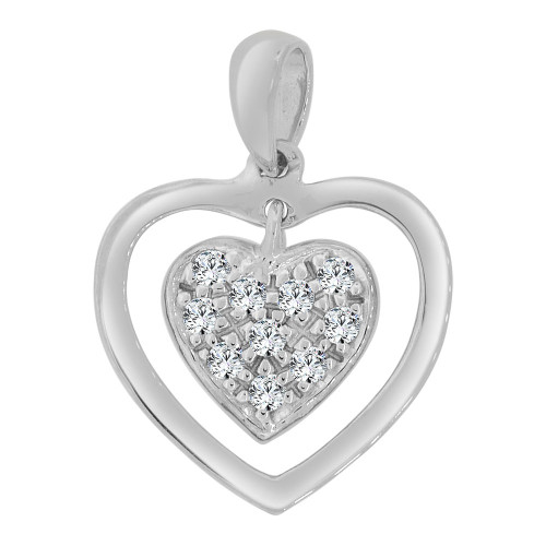 14k Gold White Rhodium,  Mini Size Double Open Heart Pendant Charm Created CZ Crystals  (P063-073)