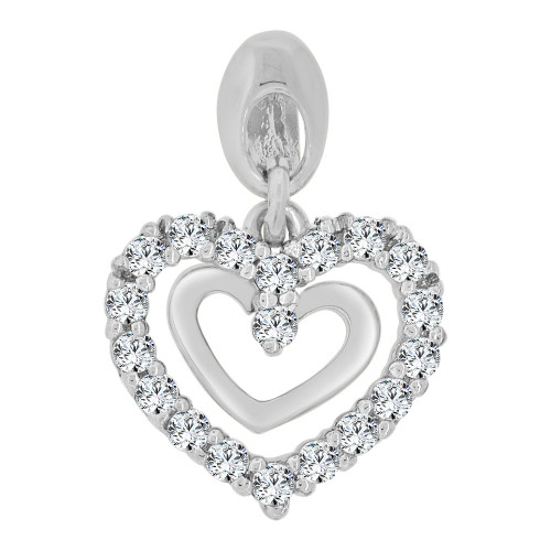 14k Gold White Rhodium, Small Size Double Open Heart Pendant Charm Created CZ Crystals (P063-074)