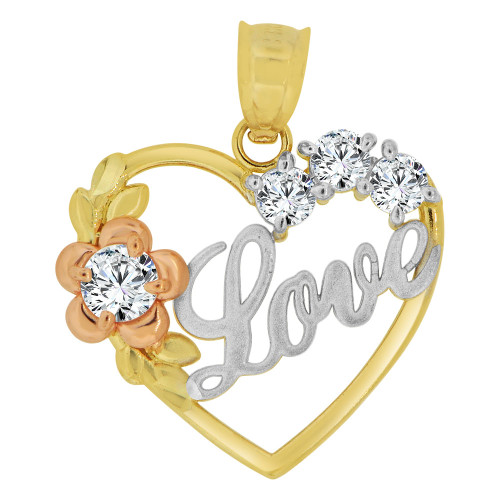 14k Tricolor Gold, Heart & Flower Pendant Charm  Love Created CZ Crystals  (P063-025)