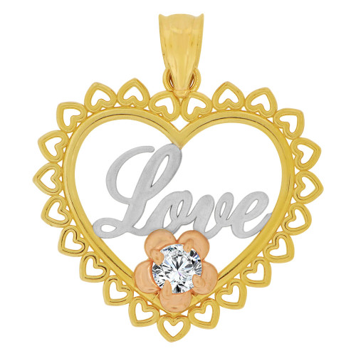 14k Tricolor Gold, Heart & Flower Pendant Charm Love Created CZ Crystals (P063-026)