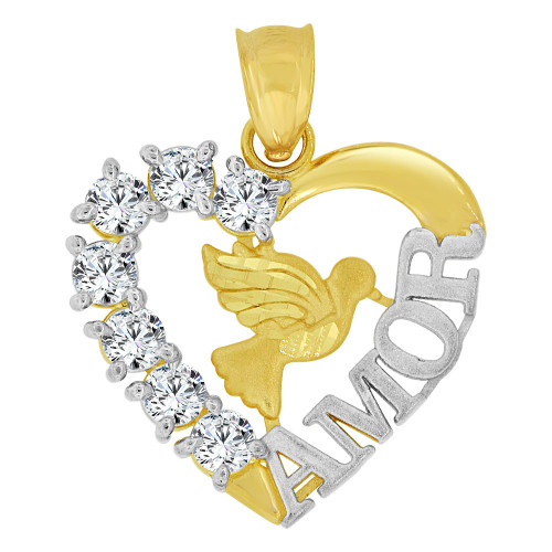 14k Yellow Gold White Rhodium, Heart Pendant Charm Dove Bird AMOR Created CZ Crystals  (P063-028)