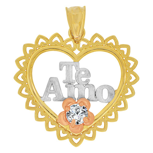 14k Tricolor Gold, Heart & Flower Pendant Charm Te Amo Created CZ Crystal (P063-029)