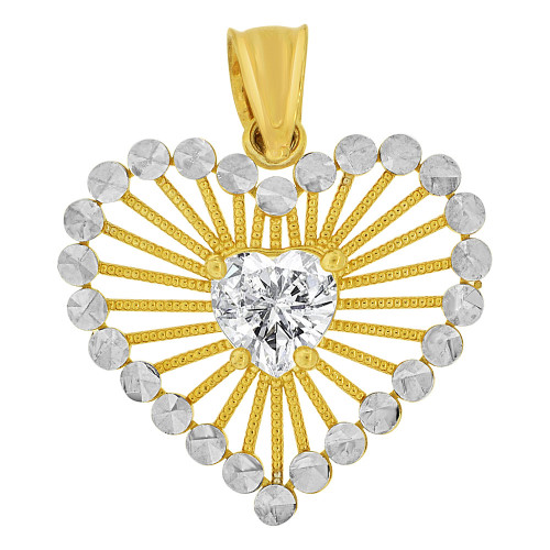 14k Yellow Gold White Rhodium, Heart Pendant Charm Created CZ Crystal (P063-031)