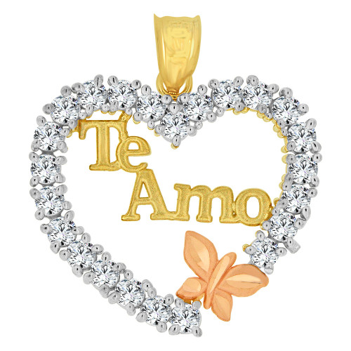 14k Yellow and Rose Gold, Te Amo Heart & Butterfly Pendant Charm Created CZ Crystals  (P063-032)