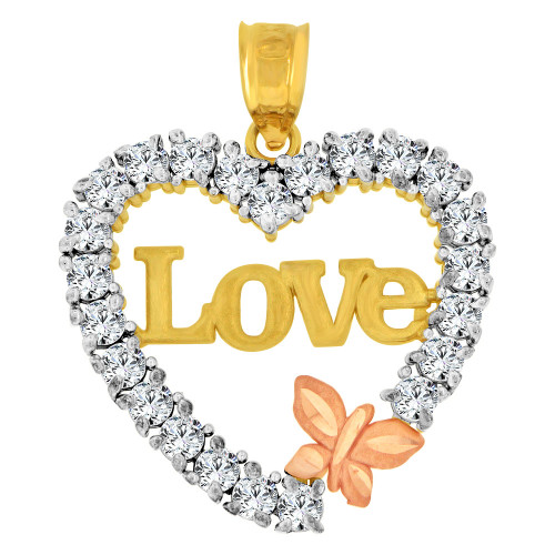 14k Yellow and Rose Gold, Love Heart & Butterfly Pendant Charm Created CZ Crystals (P063-033)