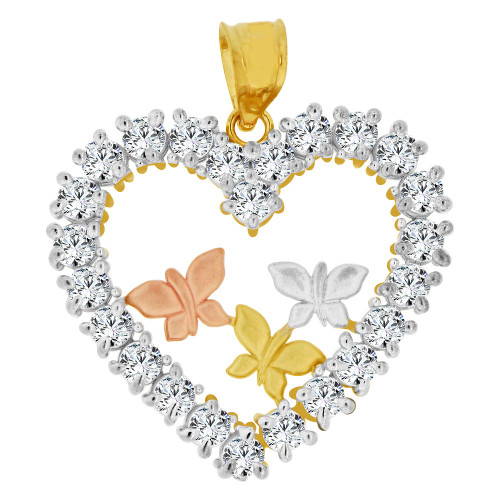 14k Tricolor Gold, Heart & Butterflies Pendant Charm Created CZ Crystals (P063-034)