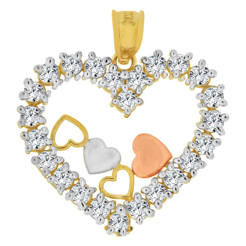 14k Tricolor Gold, Multiple Hearts Pendant Charm Created CZ Crystals  (P063-035)