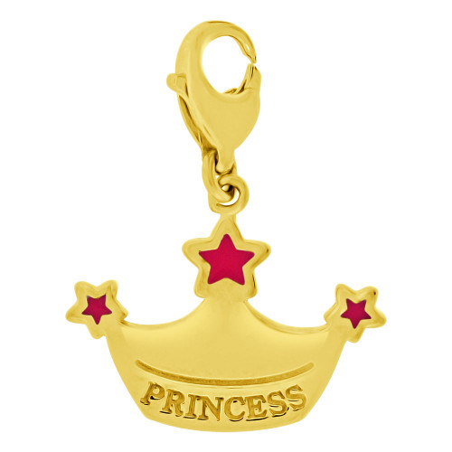 14k Yellow Gold, Princess Tiara Crown Pendant Charm Pink Enamel Accents (P059-020)