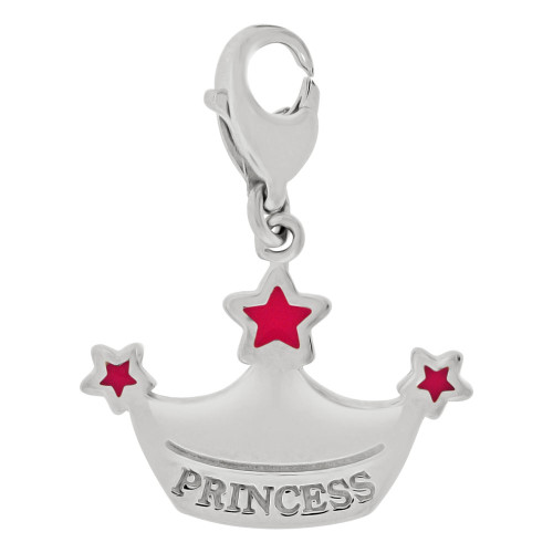 14k Gold White Rhodium, Princess Tiara Crown Pendant Charm Pink Enamel Accents (P059-070)