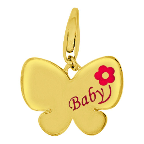 14k Yellow Gold, Baby Butterfly Pendant Charm Pink Enamel Resin Accents (P059-022)