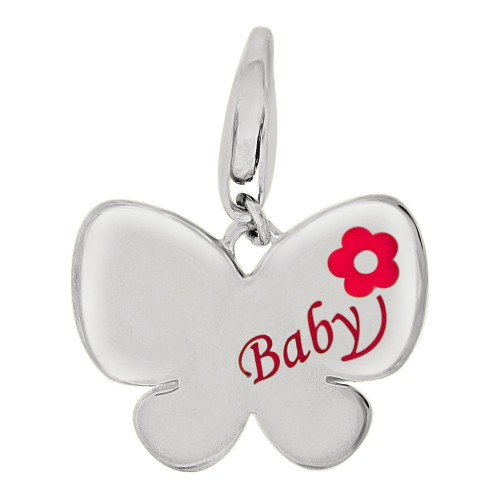 14k Gold White Rhodium, Baby Butterfly Pendant Charm Pink Enamel Resin Accents (P059-072)