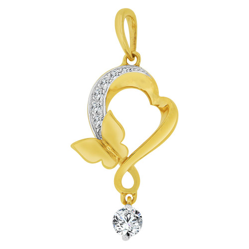 14k Yellow Gold White Rhodium, Abstract Heart Butterfly Drop Pendant Charm Created CZ Crystals (P063-037)