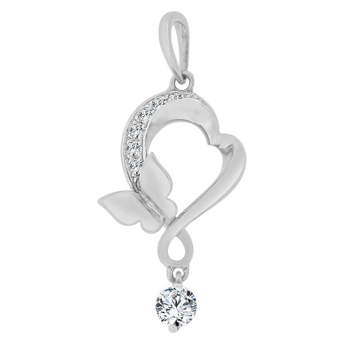 14k Gold White Rhodium, Abstract Heart Butterfly Pendant Charm Created CZ Crystals (P063-087)