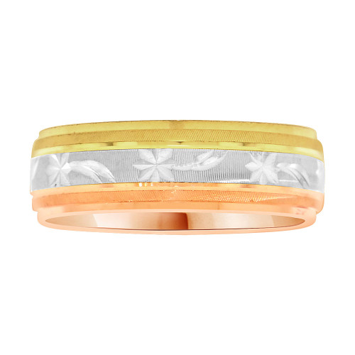 14k Tricolor Gold, Light Weight Band Ring Textured Star Comet Design 6mm Width (R001-000)