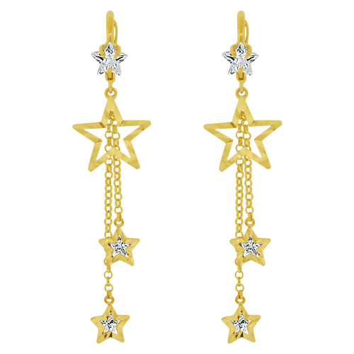 14k Yellow Gold, Fancy Star Dangling Drop Earring Created CZ Crystals (E016-009)