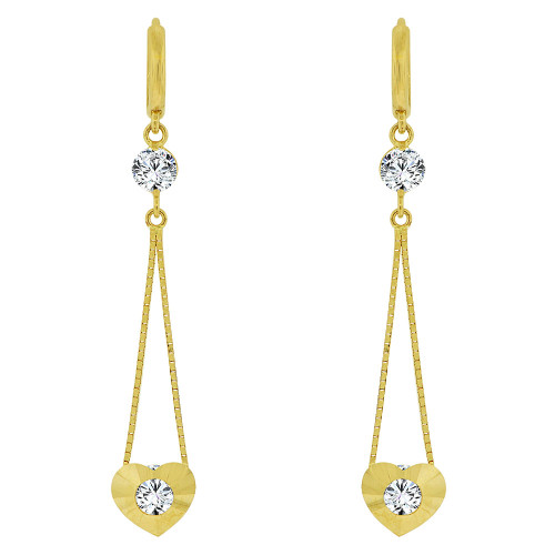 14k Yellow Gold, Modern Heart Design Dangling Drop Earring Created CZ Crystals (E016-019)