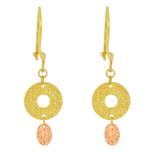 14k Yellow & Rose Gold, Simple Modern Geometric Circle Design Dangling Drop Earring Sparkly Diacut (E016-028)