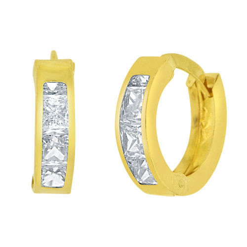 14k Yellow Gold White Rhodium, Mini Hoop Huggies Stud Earring Created CZ Crystals (E016-036)