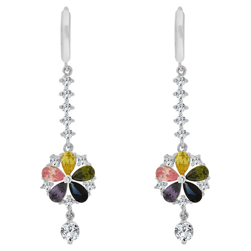 14k Gold White Rhodium, Colorful Modern Abstract Flower Drop Earring Created CZ Crystals (E016-054)