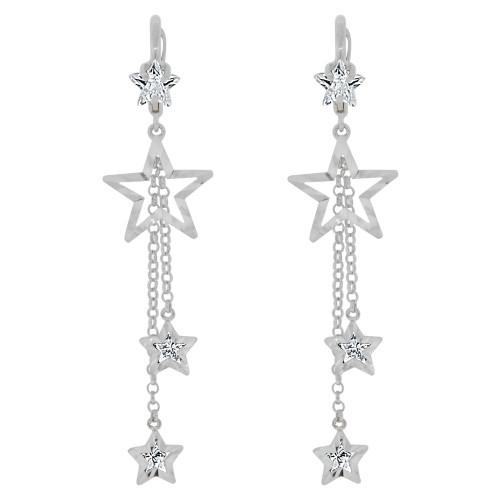 14k Gold White Rhodium, Fancy Star Dangling Drop Earring Created CZ Crystals (E016-059)
