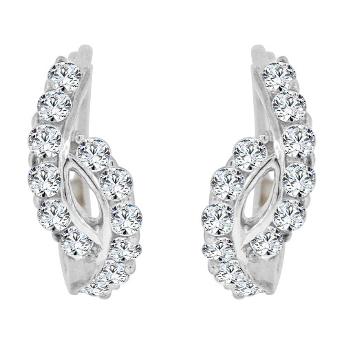14k Gold White Rhodium, Mini Hoop Huggies Stud Earring Created CZ Crystals (E016-066)