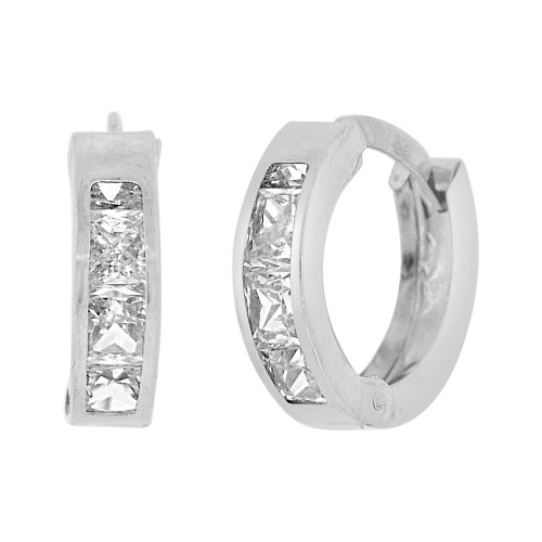 14k Gold White Rhodium, Mini Hoop Huggies Stud Earring Created CZ Crystals (E016-085)