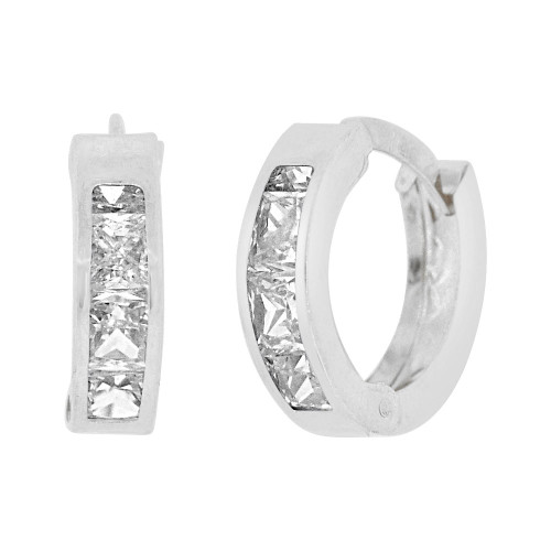14k Gold White Rhodium, Mini Hoop Huggies Stud Earring Created CZ Crystals (E016-087)