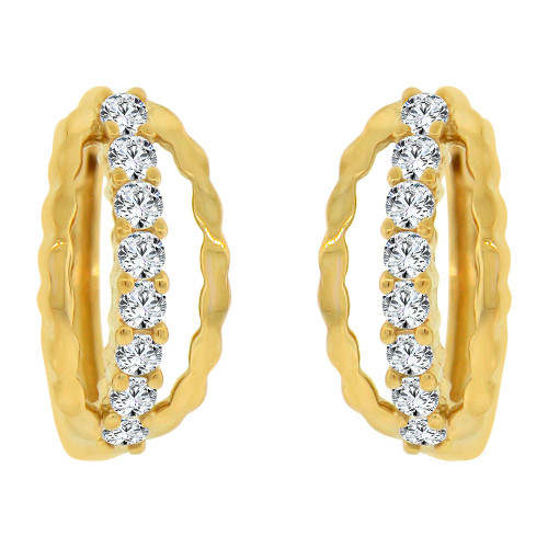 14k Yellow Gold, Mini Hoop Huggies Stud Earring Created CZ Crystals (E017-007)