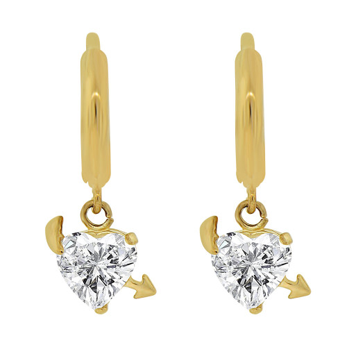 14k Yellow Gold, Modern Heart Design Dangling Earring Created CZ Crystals (E017-009)
