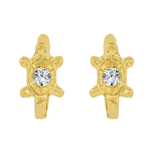 14k Yellow Gold, Turtle Tortoise Mini Hoop Stud Earring Created CZ Crystals (E017-013)