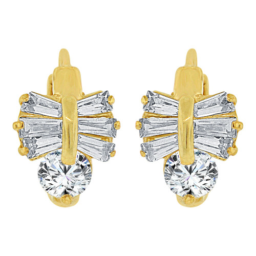 14k Yellow Gold, Bow Mini Hoop Huggies Stud Earring Created CZ Crystals (E017-015)