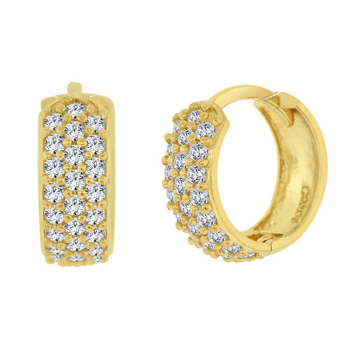 14k Yellow Gold, Mini Hoop Huggies Earring Created CZ Crystals 13mm (E017-028)