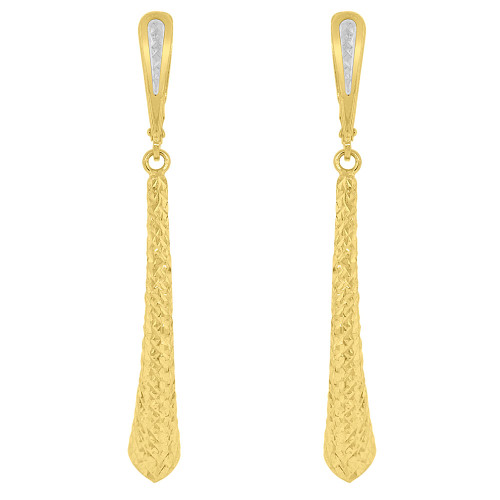 14k Yellow Gold White Rhodium, Fancy Sparkling Cuts Hollow Tube Drop Earring 51mm Tall (E017-030)