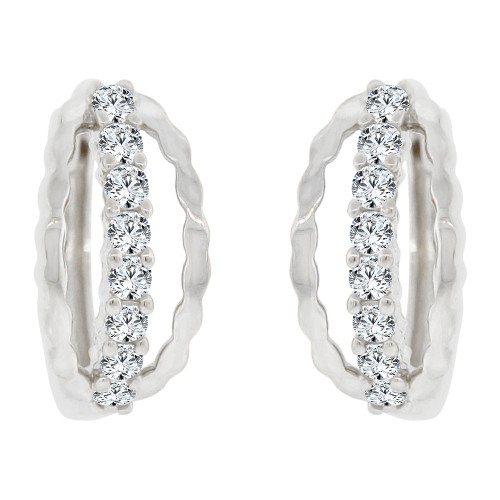 14k Gold White Rhodium, Mini Hoop Huggies Stud Earring Created CZ Crystals (E017-057)
