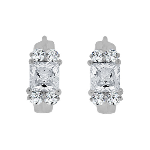 14k Gold White Rhodium, Mini Hoop Huggies Stud Earring Created CZ Crystals (E017-061)