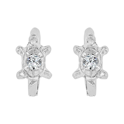 14k Gold White Rhodium, Turtle Tortoise Mini Hoop Stud Earring Created CZ Crystals (E017-063)