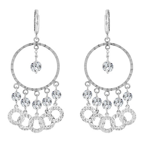 14k Gold White Rhodium, Fancy Chandelier Dangling Drop Earring Created CZ Crystals (E017-070)