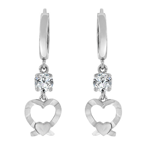 14k Gold White Rhodium, Heart Dangling Drop Earring Created CZ Crystals (E017-074)