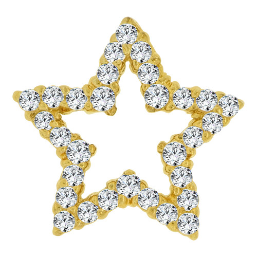 14k Yellow Gold, Classic Star Slider Pendant Charm Created CZ Crystals (P064-001)
