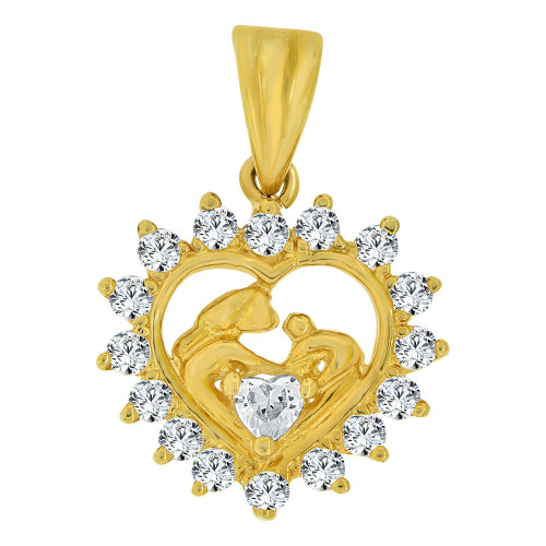 14k Yellow Gold, Small Abstract Baptism Scene Heart Pendant Charm Created CZ Crystals (P064-003)